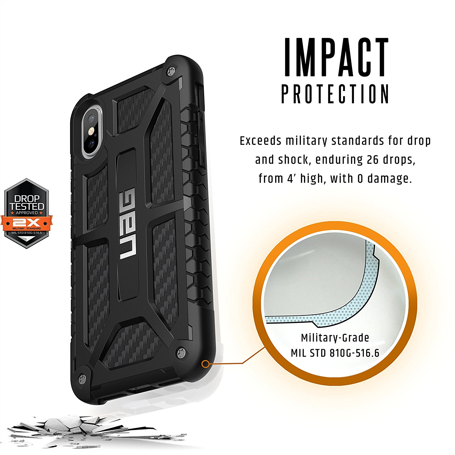 uag iphone x monarch rugged carbon military drop tested iphone case walmartcom