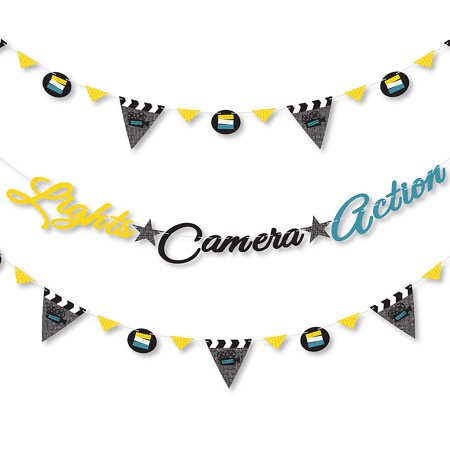 Movie - Hollywood Party Letter Banner Decoration - 36 Banner Cutouts and Lights Camera Action Banner Letters