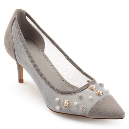 Womens Mesh Faux Pearl Embellished Pumps (Embellished Open Toe Pump)