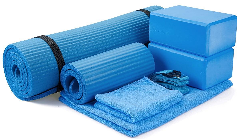 7 Pcs Yoga Set Fitness Block Mat Ball Band Tension Rope Stretch Strap Towel Pink