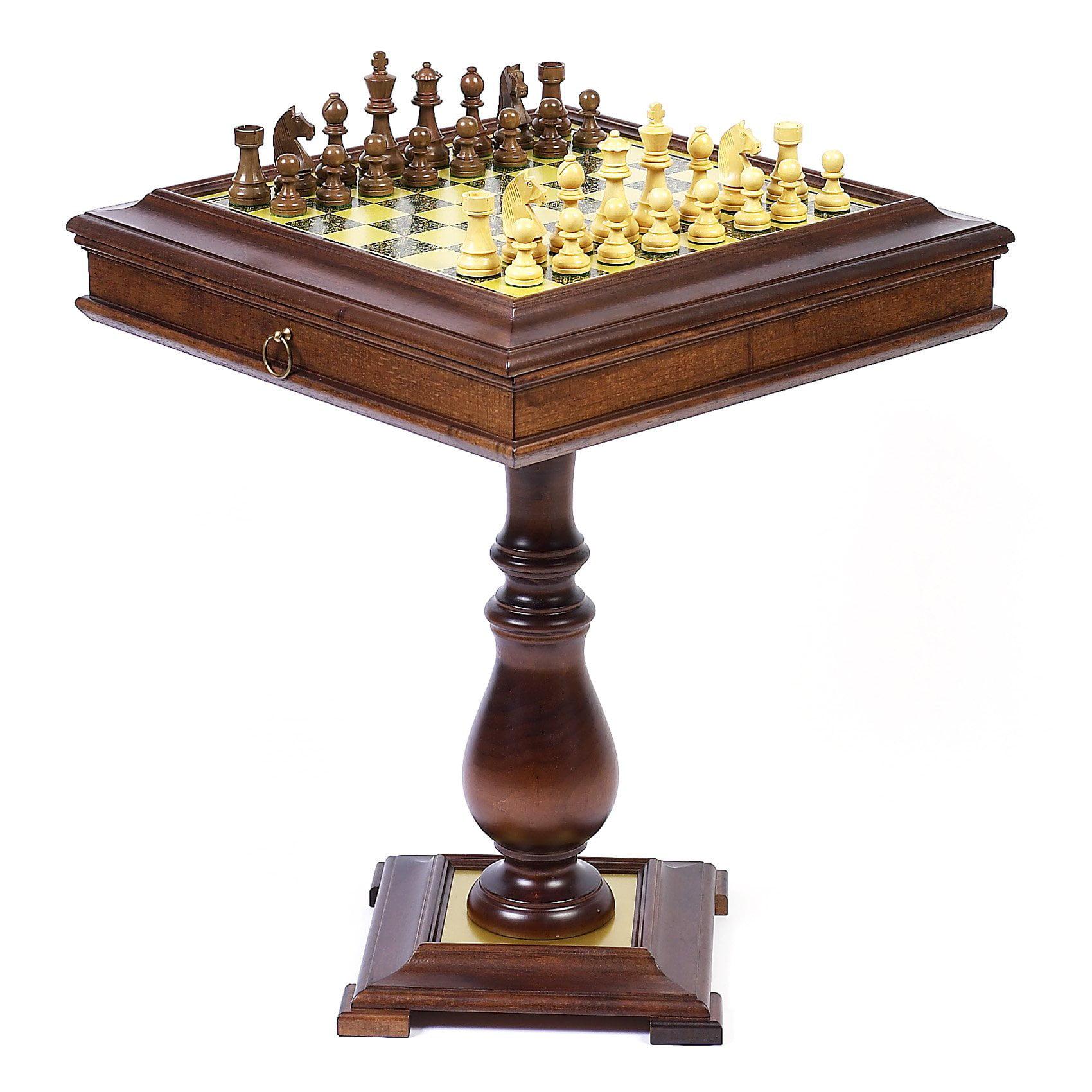 Italian Wormwood Game Table with Staunton Walnut Chessmen
