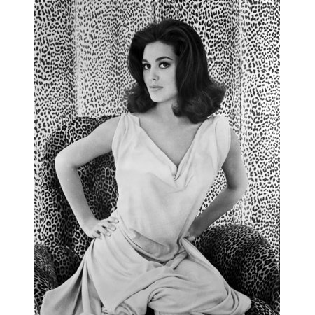 Leopard Photo - Linda Harrison on a Dress with Leopard Background Photo Print