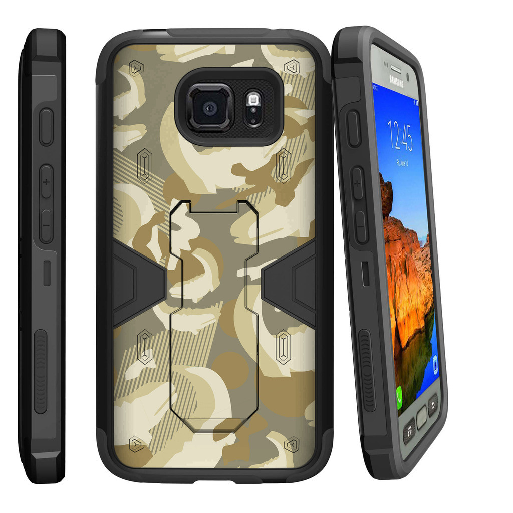 Samsung Galaxy [ S7-ACTIVE model] G891A Dual Layer Shock Resistant MAX DEFENSE Heavy Duty Case with Built In Kickstand - Alligator Swamp