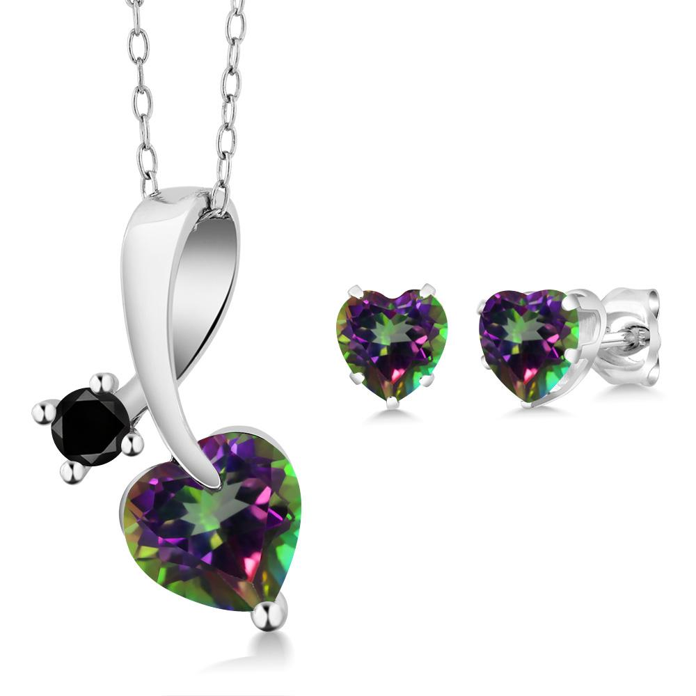 2.60 Ct Heart Shape Green Mystic Topaz and Black Diamond 925 Sterling Silver Pendant Earrings Set by