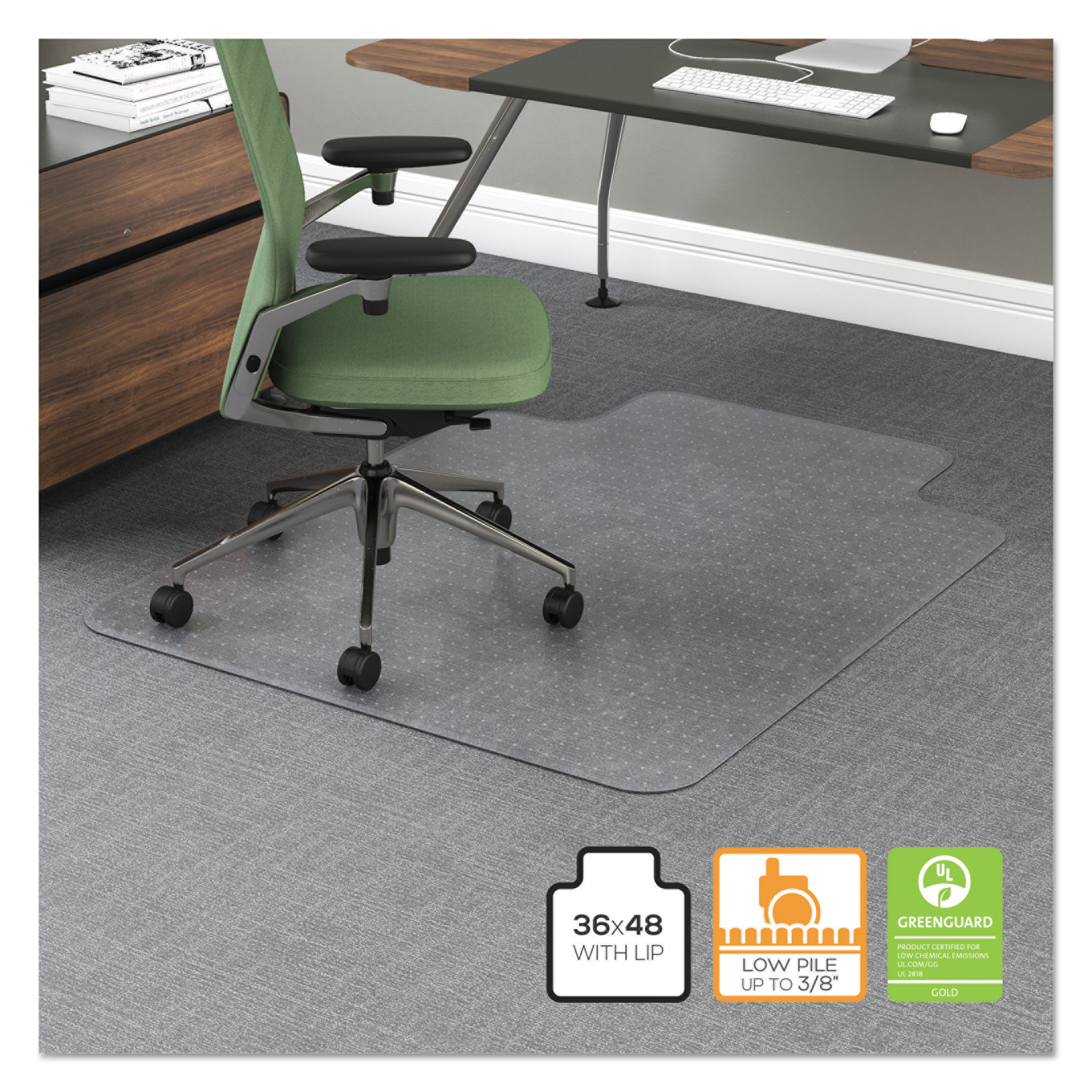 Office Impression 36 X 48 Chair Mat For Carpet Rectangular With Lip