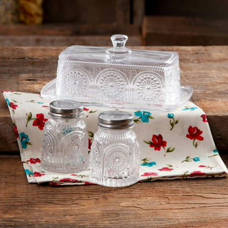 The Pioneer Woman Adeline Glass Butter Dish with Salt And Pepper Shaker
