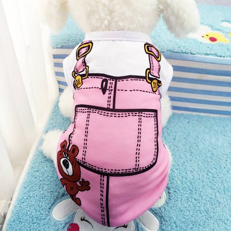Pet Dog Puppy Clothes Fake Strap Vest Shirt Dog Cotton Spring Summer Puppy Clothing T-shirt