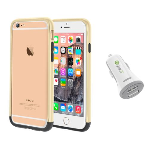 iPhone 6 Case Bundle (Case + Charger), roocase iPhone 6 4.7 Strio Bumper Open Back with Corner Edge Protection Cover with White 3.4A Car Charger for Apple iPhone 6 4.7-inch, Champagne Gold