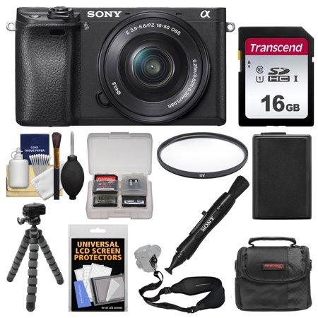 Sony Alpha A6300 4K Wi-Fi Digital Camera + 16-50mm Lens (Black) with 16GB Card + Case + Battery + Flex Tripod + Filter + Strap + Kit