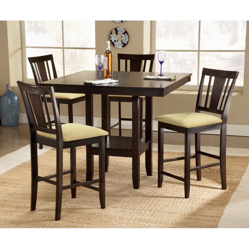 Hillsdale Furniture Arcadia 5-Piece Counter Height Dining Room Set with Slat Back Stools by Hillsdale