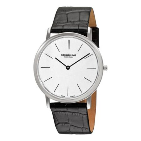 Stuhrling Original  Mens Ascot Swiss Quartz Black Leather Strap Watch