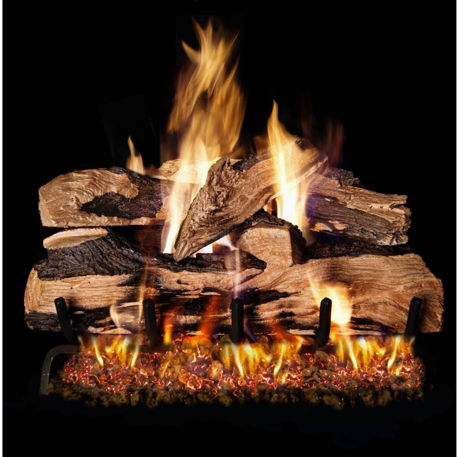 Peterson Real Fyre 30-inch Split Oak Designer Plus Log Set With Vented Natural Gas Ansi Certified G46 Burner - Electronic On/Off Remote