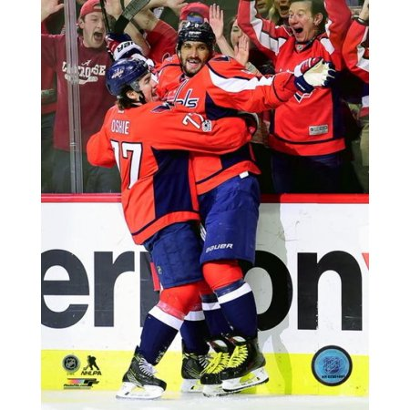 Alex Ovechkin & TJ Oshie celebrate Ovechkins 1000th career NHL point against the Pittsburgh Penguins at Verizon Center on January 11 2017 in Washington DC Photo Print for $<!---->