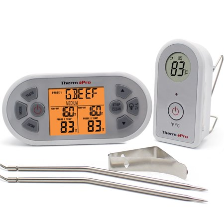 ThermoPro TP22 Meat Thermometer with Dual Probes Wireless Remote Digital Food Thermometer for Cooking Grill Oven BBQ,Monitor Temperature from 300 Feet away,Batteries (Monitoring Probe)