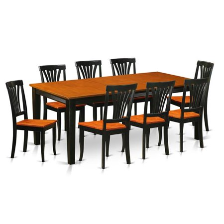 Wood Seat Dining Room Set - Table with 8 Solid Chairs, Black & Cherry - 9 Piece ()