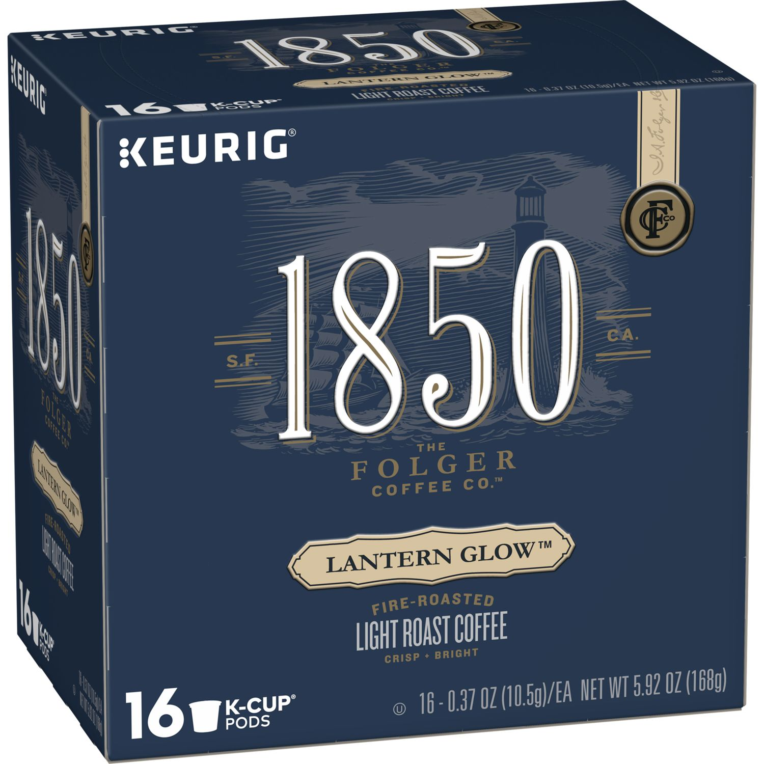 1850 Lantern Glow, Light Roast Coffee, K-Cup Pods for Keurig Brewers, 16-Count