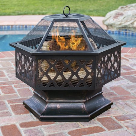 outdoor fire pit for your home   BCP Hex Shaped Fire Pit Outdoor Home Garden Backyard ...