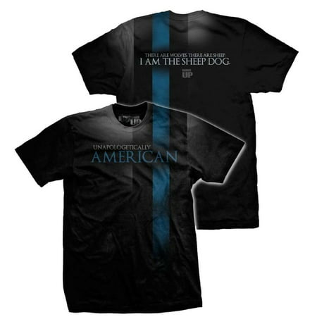 Thin Blue Line / Sheepdog T-shirt from Ranger up for Police, Law Enforcement - Black, Small ()