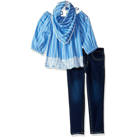 Off-the-Shoulder Top, Jeans and Bandana, 3-Piece Outfit Set (Little Girls & Big Girls)