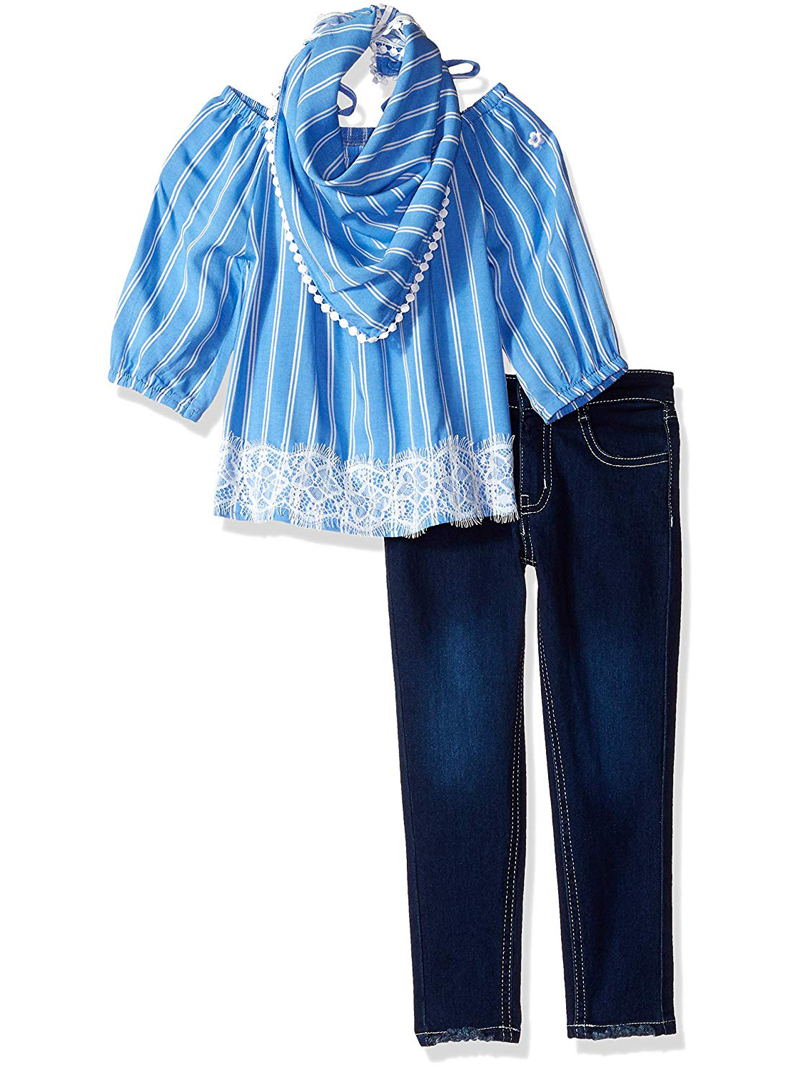 Bell Sleeve Lace Top and Jeans, 2-Piece Outfit Set (Little Girls & Big Girls)