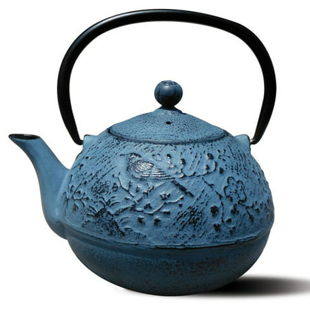 "Brown Cast Iron Teapot (24 Oz. Waterfall Blue Cast Iron ""Suzume"")"