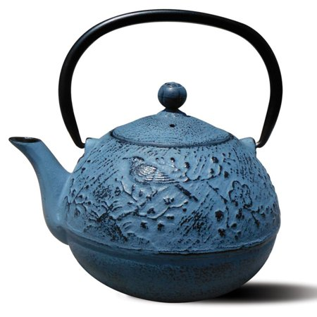 "24 Oz. Waterfall Blue Cast Iron ""Suzume"" Teapot"