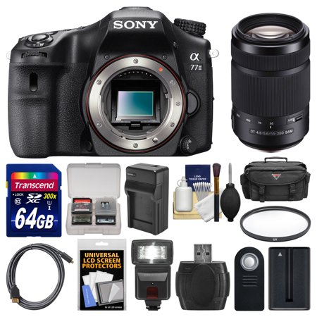 Sony Alpha A77 II Wi-Fi Digital SLR Camera Body with 55-300mm Lens + 64GB Card + Case + Flash + Battery &... by