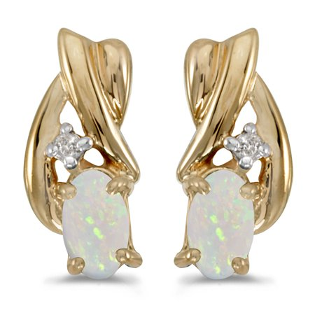 - 14k Yellow Gold .16 ct Oval Opal 5x3mm Gemstone .02 ct Diamond Accented Drop Angel Wing Earrings for Women