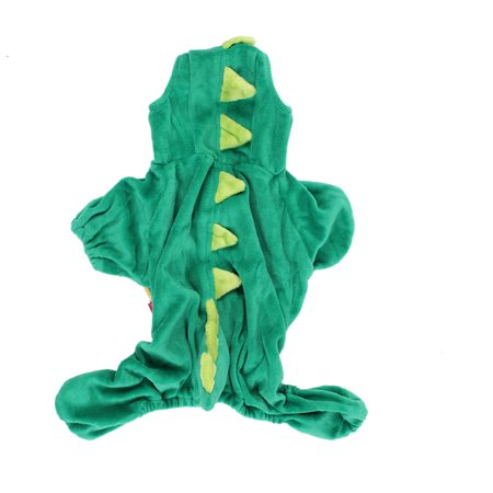 Pet Dog Doggy Dinosaur Shape Hoodie Sleeved Coat Clothes Hunter Green Size