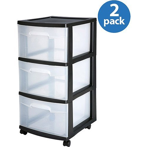 3-Drawer Medium Cart, Set of 2, Stacking Size Fuchsia Bla...