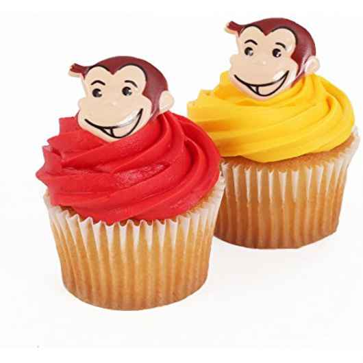 24 Curious George Monkey Cupcake Cake Rings Birthday Party Favors Toppers