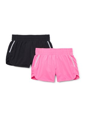 Athletic Works Girls 4-18 & Plus Solid Active Running Short, 2-Pack