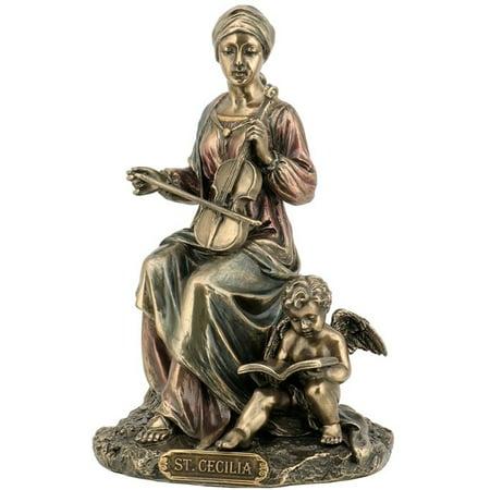 Cecilia Cast (6.25 Inch Saint Cecilia Cold Cast Decorative Figurine, Bronze Color )