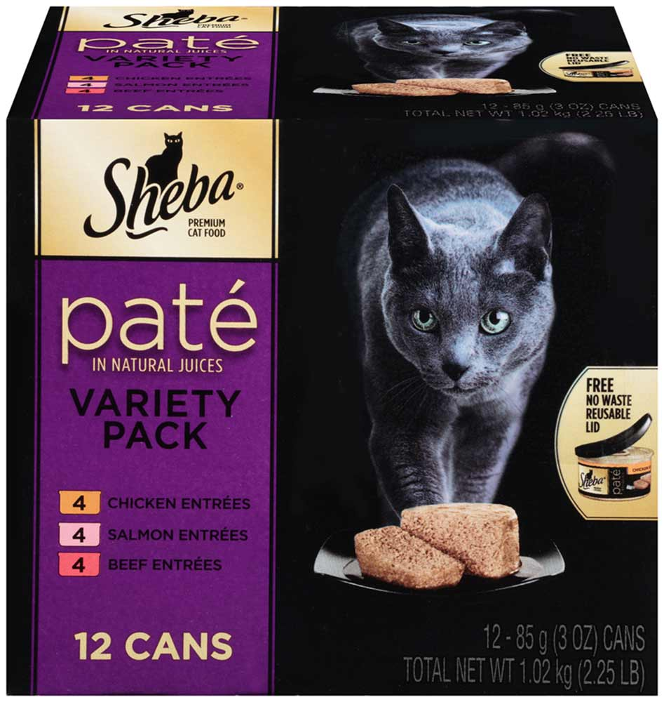 SHEBA Pate in Natural Juices Variety Pack Chicken, Salmon, Beef Wet Cat Food 3 oz. (Pack of 12)
