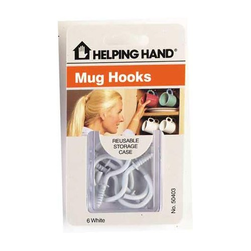 Helping Hand Mug/Cup Hooks 6-Count White (Pack of 3)
