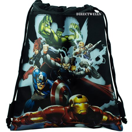 Avengers Black Drawstring Bag with 6 Characters