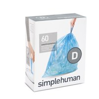 Simplehuman Code D Custom Fit Recycling Liners, 20 Liter / 5.2 Gallon, 60 Count, Blue