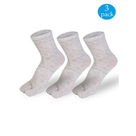 Split Toe Socks - NK Fashion 3 Pairs Unisex Japanese Kimono Flip Flop Sandal Split Toe Socks Tabi Ninja Geta Socks Gray