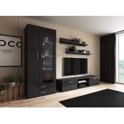 Soho 8 Modern Wall Unit Entertainment Center with 16 Color LED Lights