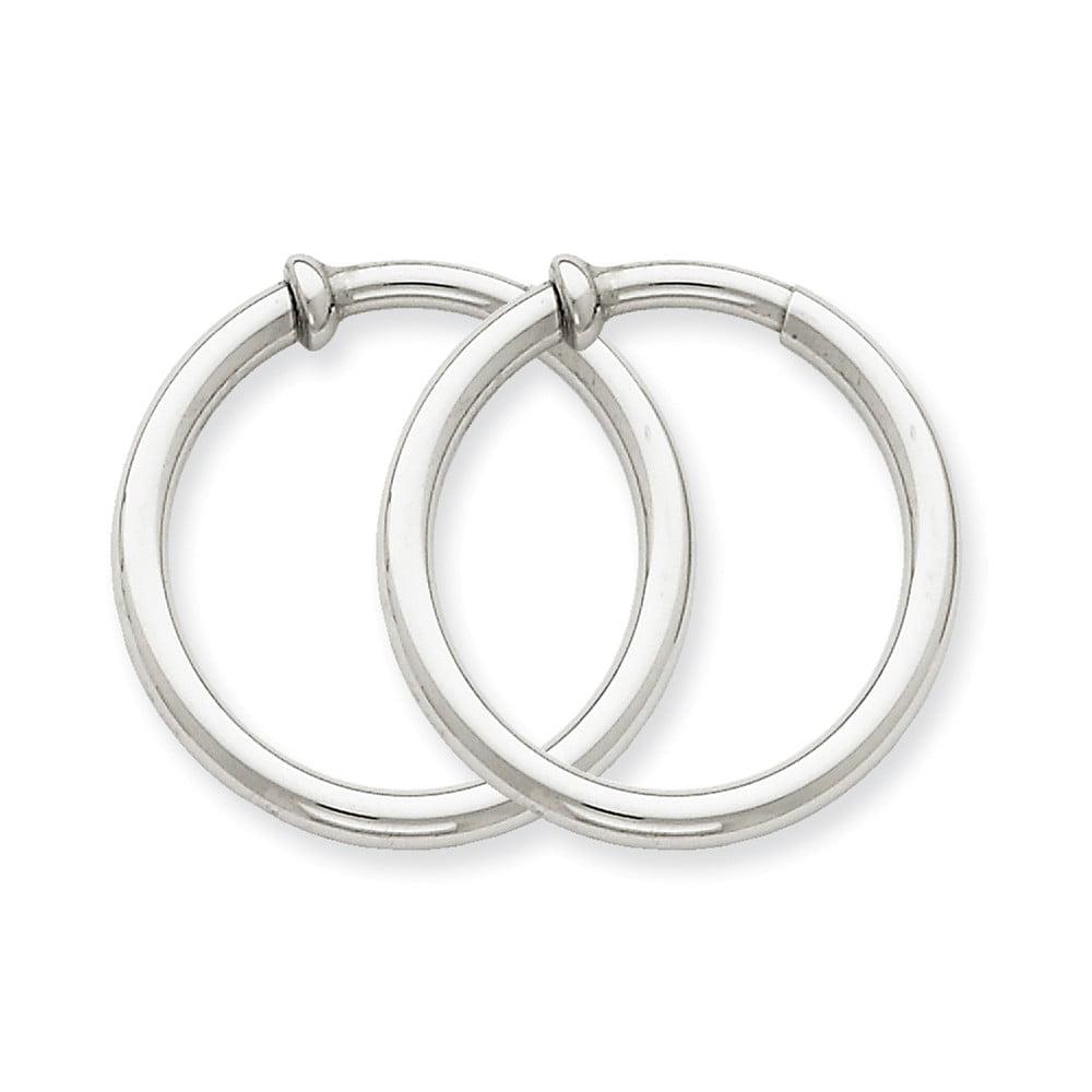 14k White Gold Non-pierced Earring Hoops Earrings (0.8IN Long)