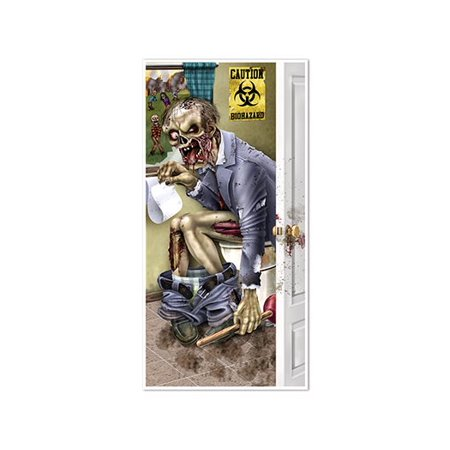 Club Pack of 12 Halloween Themed Zombie Restroom Door Cover Party Decorations 5' - Halloween 5 Theme
