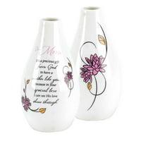 "4.5"" White and Black Floral Petite Flower Vase"
