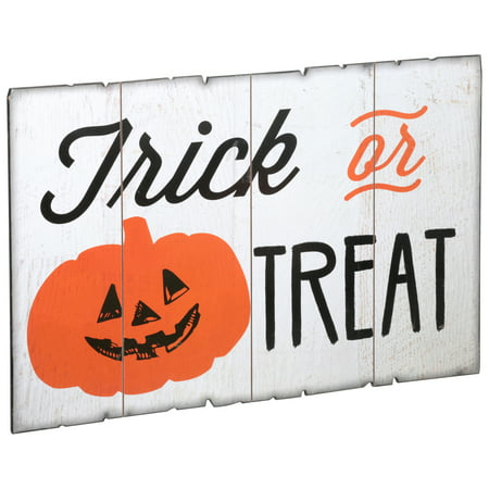 Halloween Trick or Treat Wood Sign - Halloween Games For Trick Or Treaters