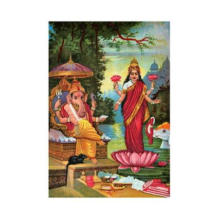Hindu God Ganesha with Hindu Goddess Lakshmi Print Wall Art ...
