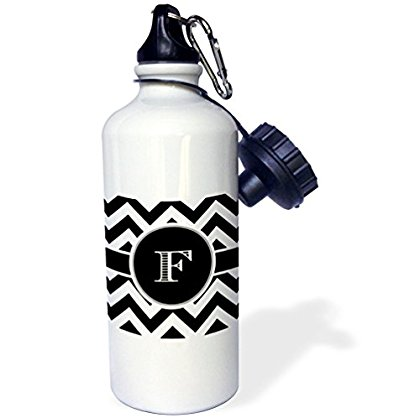 3dRose Black and white chevron monogram initial F, Sports Water Bottle, 21oz
