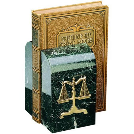 Legal Scales Bookends - Black Marble with Green Tones