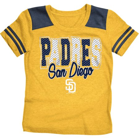 MLB San Diego Padres Girls Short Sleeve Team Color Graphic Tee (San Diego State Baseball Halloween Game)