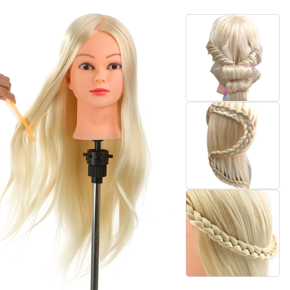 "Anself 26"" 30% Real Human Hair Hairdressing Training Mannequin Head Hair Dummy Head Model with Clamp"