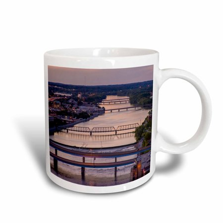 Foot Span Bridge - 3dRose Many bridges span the Grand River, Grand Rapids, Michigan, USA - Ceramic Mug, 11-ounce