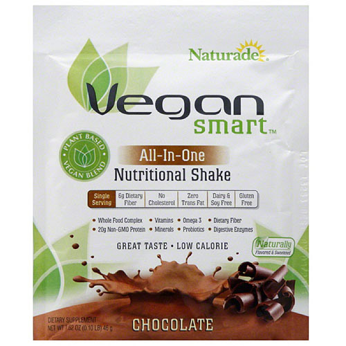 Naturade VeganSmart All-In-One Chocolate Nutritional Shake Mix Dietary Supplement, 1.62 oz, (Pack of 12)